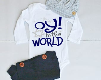 Oy to the World Hanukkah Outfit - Hanukkah Outfit for Baby Boy - Hanukkah Onesie® for Baby Boy - Baby's First Hanukkah Outfit