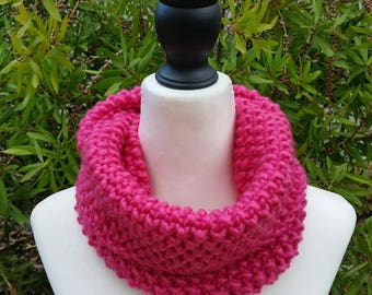 Hot pink knitted cowl. Moss stitch tube cowl, hand knitted. Wool acrylic blend snood.
