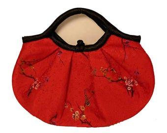 Handmade Floral Red Silk Brocade Satchel
