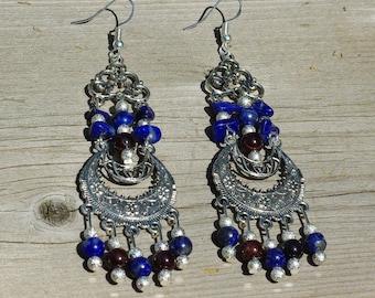 Blue Lapis Lazuli and Red Garnet Earrings ~ Chandelier Earrings ~ Statement Earrings ~ Boho Bohemian Jewelry~ Formal Earrings ~ Anniversary