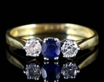 Sapphire Diamond Trilogy Engagement Ring 18ct Gold