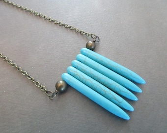 Turquoise Magnesite Spikes . Necklace