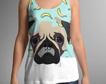 BANANA PUG, pug tank top, Pug Lover, Pug shirt, Pug T Shirt, pug tee, cute shirt, cute, banana shirt, new daddy, gift for her, mom shirt