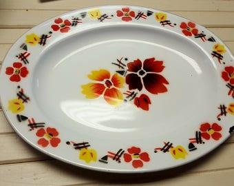 Vintage retro Chinese enamelware Bon Voyage yellow, orange and black platter