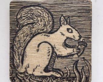 4cm Square Inked Squirrel Magnet