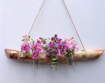 Hanging bud vases, Natural weathered beech branch, Branch bud vase holder, Rustic wedding decor.