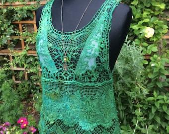 Lace/ Hippy/Pixie,Festival/Crochet/Tie Dye/Fairy/Hand dyed /, woodland/Greens/teal/  /Lace vest/ Crochet top