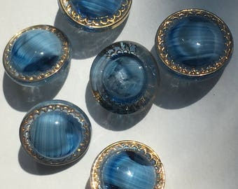6 blue glass buttons - 6 / glass buttons - vintage buttons (107)