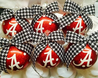 Red and white Christmas Ornaments set of 6