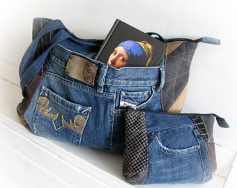 Denim bag Cosmetic Bag Jean handbag Patchwork bag Patchwork purse Handmade bag Jeans bag Recycled jeans