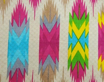 """Indian Cotton Fabric, Multicolor Printed, Beige Fabric, Ethnic Fabric, Sewing Crafts, 40"""" Inch Fabric By The Yard ZBC8026A"""