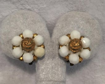 summer17 Signed White & Gold Acrylic Bead Clip-on Earrings - West Germany - CA 1940's - Item VC 110