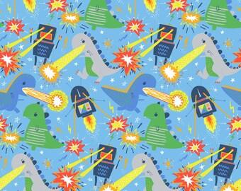 Blend Robot Fabric, 100% Cotton, Monsters vs Robots, Monster Fabric, Rocket Fabric UK