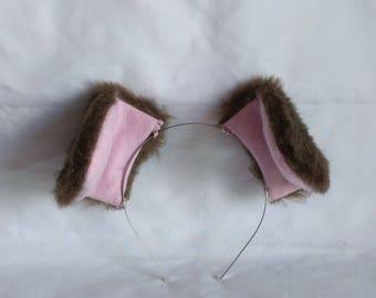 Brown Faux Fur Puppy Ears