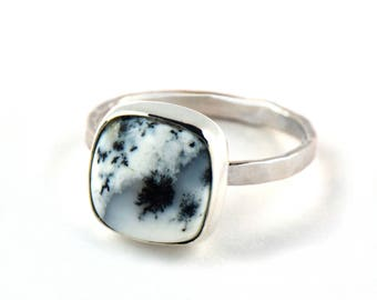Dendritic Agate Ring - Sterling Silver Cocktail Ring - Boho Statement Ring - Handmade Black and White Gemstone Ring - Unique Rings for Her