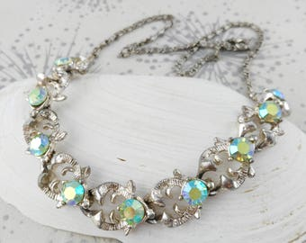Vintage Rhinestone Necklace - Vintage Bride Necklace -  Aurora  Necklace - Gift Woman Her - Sparkly Necklace - Birthday Gift - Something Old