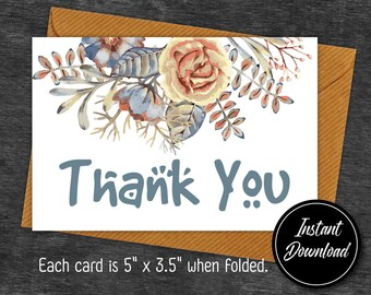 Floral Thank You Card Printable,Purple floral Thank You Card, Flower Thank You Note, Printable #t001