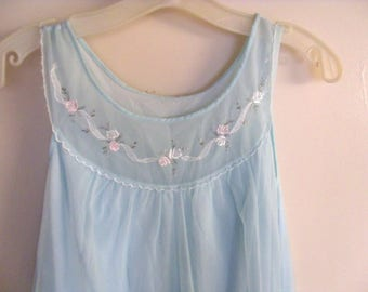 Vintage Miss Elaine pale blue chiffon night gown, lovely embroidery at neckline and sweet little pocket, n
