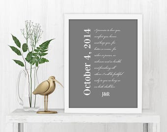 Framed Wedding Vows, Date, Fine art Print, Vows on Canvas, Wedding, Vows, Gift, Anniversary, First, Paper, Year, Customized, Wife, Husband