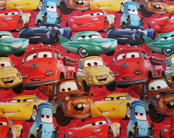 Cars Movie - Red, Digital Printed Cotton Lycra Jersey Knit Fabric