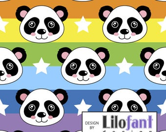 Rainbow Panda - Lilofant Organic Cotton Lycra Jersey Knit Fabric