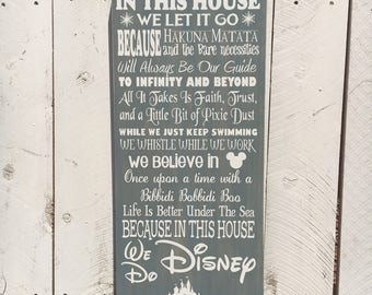 In This House, Disney Inspired Wood Sign, Disney Decor, Disney Sign, Birthday Gift, Gift for Her, Gift for Him, Christmas Gift, 12x24