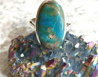 Genuine Peruvian Blue Opal  Ring, Size 10