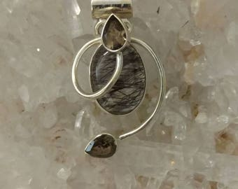 Black Rutilated Quartz and Smokey Topaz Pendant Necklace