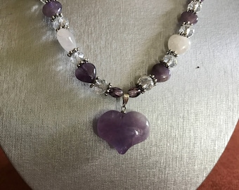 Lots of Love Amethyst Heart Pendant Necklace