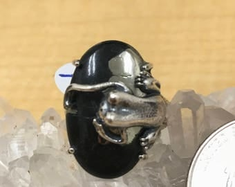 Frog Pyrite/Healer's Gold and Magnetite Ring, Size 7 1/2