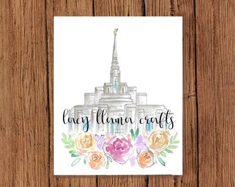 Ogden Temple Watercolor Print 8x10