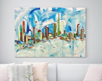 "Modern Landscape Expressive ORIGINAL Abstract City Acrylic Painting Canvas Art Huge  Wall Art Decor Fine Painting Modern Art 35"" x 65"""