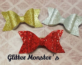 Red Glitter Bow, Gold Glitter Bow, Silver Glitter Bow, Glitter Bow Set, Baby Bow, Girls Hair Accessories, Christmas Bow Set