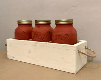 Rustic Mason Jar Utensil Holder - Three Kilner Jars and Carry Crate