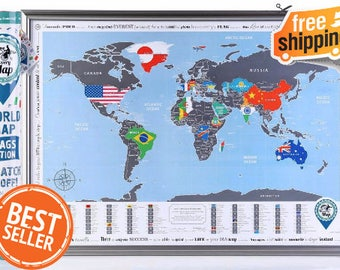 Framed world map with scratch off silver scratch special scratch off poster with flags stylish design special stickers sciox Choice Image