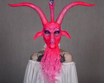 Pink Baphomet - handmade satanic halloween / cosplay mask