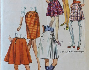 Vintage 1960s Skirt Sewing Pattern - Simplicity 7595 - Waist 29