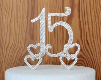 "Quinceanera 15 elegant birthday cake topper made with silver crystal rhinestones and 2 crystal rhinestone butterfly's or hearts or ""plain"""