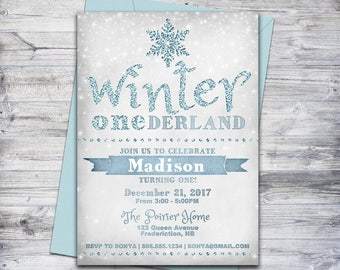 winter onederland invitation printable first birthday party invitation winter party 5x7 invite - Winter Onederland Party Invitations
