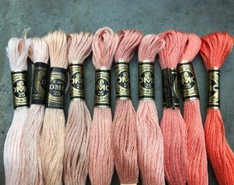 DMC Pearl Cotton Floss #25, Peach Color Pack, Needlepoint Threads, Crewel, Embroidery, Perle Cotton, Sale .40 each