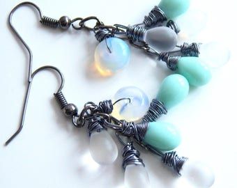 Boho, originals, wire wraped earrings, drop turquoise and transparent matte