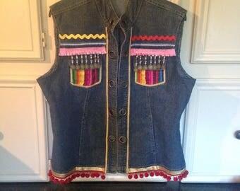 Jean Jacket/Boho Festival Vest/Native American/Gypsy Boho Jacket/Hippy Clothes/Remix clothing/Hippy/ Festival wear/ Ethnic denim jac