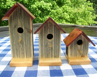 Pine Birdhouses - Decorative, Burnt Wood, Set of 3 - Garden, Porch, Patio, Indoor Decor