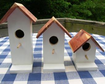 Cedar Birdhouses - White, Decorative, Set of 3 - Garden, Deck, Patio, Porch - Indoor, Outdoor Birdhouses