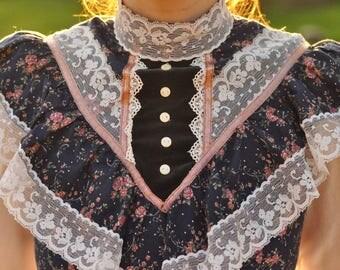 1970s Jessica Mcclintock Prairie Edwardian Lolita Gunne Sax Dress