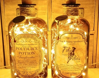 2 x Harry Potter Slug & Jiggers Diagon Alley Apothecary Polyjuice Potion and Felix Felicis Liquid Luck Potion LED Bottle Lamp Set