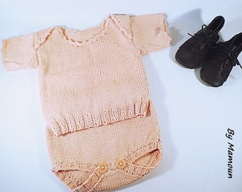 Hand knitted vintage baby (0-3 months) set in a soft cotton pink skin