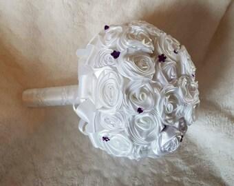 White and purple satin ribbon rose brides bouquet