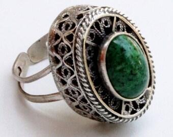 "Vintage Silver Filigree Ring Eilat Stone Adjustable signed ""Israel 925"""