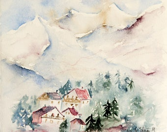 Original watercolor of houses and firs in the mountain - original painting of  mountainscape with trees in France